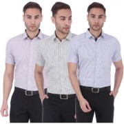 Dudlind Set of 3 Mens Formal Half Sleeves Checks Shirt Purple Green Blue Regular Fit   Combo of 3 Mens Shirts for Office and Business