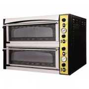 Forno Elettrico meccanico per pizza PF 2 camere di cottura Porta a vetro N. Pizze 6 +6(Ø cm 35) Temperatura 50/500 °C Dim. esterne L 100 x P 130 x 74,5 h Dim. camera L 72 x P 108 x 14 h Modello ENDOR 66 GLASS