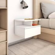 vidaXL Нощни шкафчета за стена 2 бр силен бял гланц 40x31x27 см ПДЧ