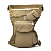 Outdoor Sport Bike Cycling Canvas Multifunction Waterproof Leg Bag Waist Bag Thigh Tactical Bag - Khaki