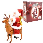 Christmas Gift Electric Santa Claus Ride a Deer Music Box Player Decoration Toys