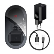 BASEUS Simple 2-in-1 Wireless Charger Turbo Edition 24W + 12V Power Adapter + Type-C Charing Cable - Black/EU Plug