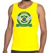 Bellatio Decorations Geel Brazil drinking team tanktop / mouwloos shirt heren