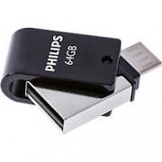 Philips Dual USB 2.0 Flash Drive 2-in-1 USB 2.0 + Micro USB 64 GB Silver