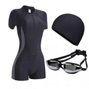 ZXYang Traje de baño Mujer Conservador combinado Gran tamaño Pérdida de peso Vientre Tres piezas Gorro de natación Gafas protectoras (Color : Black ash, Size : XL)