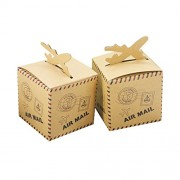 FNT Postmark Kraft Paper Gift Boxes Candy Box Bags Party Wedding Favors Pack of 50