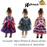 ZWSISU Doll Halloween Party Costume Clothes Set Include Pumpkin Skirt Spider Shoes Fit 18 inch American Girl Doll,Our Generation and Journey Girls Dolls