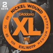 D'Addario Juego de 4 cuerdas para Bajo XL 50-105 2 Sets 050-070-085-105, EXL160TP