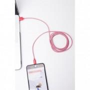 Piros-fehér textil borítású Apple kábel