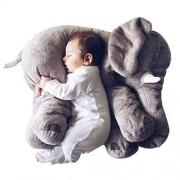 Super Soft Cute Big Stuffed Elephant Plush Doll Pillows, Baby Elephants Toys (Grey)