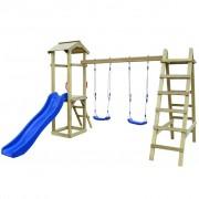 vidaXL Set joacă, tobogan, scări, leagăne, lemn de pin, 286x237x218cm