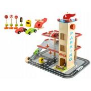 Fából készült pálya játék ,mélygarázs + helikopter, autókkal és kiegészítőkkel
