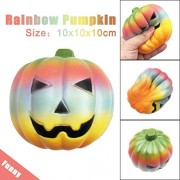 Voberry New Exquisite Fun Rainbow Pumpkin Scented Squishy harm Slow Rising 10Cm Toys (C) 10*10*10cm C