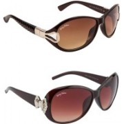 BEING ADAM Over-sized Sunglasses(Brown, Red)