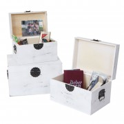 3er Set Holzbox Argos, Holzkiste Schatztruhe Aufbewahrungsbox, Shabby-Look weiß ~ Variantenangebot
