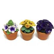 3pc Miniature Flower Clay Dollhouse Fairy Garden Mini Plant Trees Ceramic Paint Furniture Bundles Artificial Flowers #010
