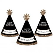 Big Dot Of Happiness Adult Happy Birthday - Gold Mini Cone Party Hats Small Little Set 10