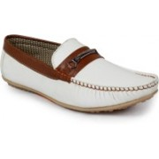 Shoe Island Designer White Loafers For Men(White, Brown)