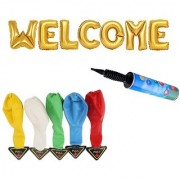 De-Ultimate Set Of WELCOME Letters Foil Balloons 5 LED Lights Balloons Inflator Air Pump For Anniversary Parties Decor