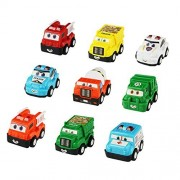 Yoptote Mini Push Pull Back Car Toy Push and Go Friction Powered Plastic Cars 9 Pcs Cartoon Emergency Vehicles Toys Play Set for Boys Girls Kids
