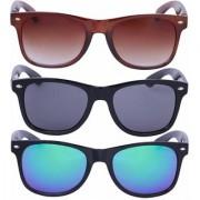 Meia Combo Of 3 Brown Black And Blue Wayfarer Sunglass