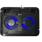 Ventilador De Refrigeración Doble Luz LED Notebook Notebook Cooler Ventilador De Refrigeración Pad - Negro