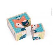 JANOD Klocki drewniane Puzzle 6w1 Las - drewniana układanka, 12m+,