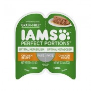 Iams Perfect Portions Optimal Metabolism Chicken Recipe Pate Grain-Free Cat Food Trays, 2.6-oz, case of 24 twin-packs