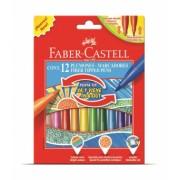 Carioci 12 culori Cu Varf Retractabil Faber-Castell