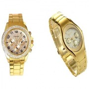 Paidu Gold Men And Rosra Gold Ledish Watches For Men Women