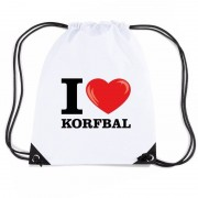 Bellatio Decorations Nylon I love korfbal rugzak wit met rijgkoord