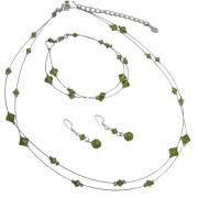 Bridal Prom Olivine Dress Green Swarovski Double Stranded Jewelery