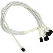 Cablu adaptor Nanoxia 3-pini Fan la 4x 3-pini, 60cm, white/black