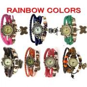 Oval Dial Multicolor Metal Strap Womens Quartz Watch
