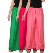 Culture the Dignity Women's Rayon Solid Palazzo Pants Palazzo Trousers Combo of 3 - Green - Magenta - Baby Pink - C_RPZ_GM1P2 - Pack of 3 - Free Size