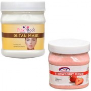 PINK ROOT DE TAN MASK 500GM WITH STRAWBERRY SCRUB 500GM