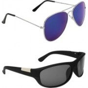 Abner Aviator, Wrap-around Sunglasses(Blue, Black)