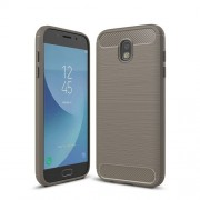 For Samsung Galaxy J730 / J7 Pro Brushed Texture Carbon Fiber Shockproof TPU Rugged Armor Protective Case(Grey)