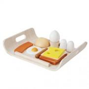 Plan Toys Drewniany zestaw śniadaniowy do zabawy - śniadanie na tacy,