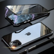 LUPHIE Bat Style Magnetic Installation Metal Frame + Tempered Glass Alll-side Protective Case for iPhone 11 Pro Max 6.5 inch - Black