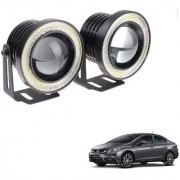 Auto Addict 3.5 High Power Led Projector Fog Light Cob with White Angel Eye Ring 15W Set of 2 For Honda Civic