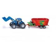 SIKU Farmer - tractor New Holland cu încărcător frontal și remorcă, 1:50