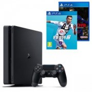 Конзола PlayStation 4 Slim 500GB Black, Sony PS4+Игра FIFA 19 за PlayStation 4+Игра Pro Evolution Soccer 2019 (PS4)