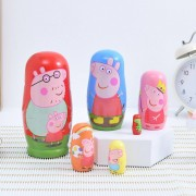 Peppa Pig 6-Layer Russian Matryoshka Doll Wooden Toy Cartoon Pig Image Basswood Material Children's Gift Toy High-End Gift