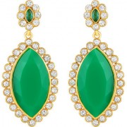 Sukai Jewels Green Pearl Ruby Gold Plated Zinc Cz AD Studded Dangle and Drop Earring for Women & Girls [SER239G]