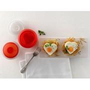 Lékué® OVO kit - szilikon tojásfőző szett (2db), szív, átlátszó/piros