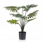 Shoppartners Kantoor kunstplant groene Philodendron 60 cm in zwarte pot