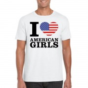 Bellatio Decorations I love American girls t-shirt wit heren