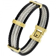 Rope Black Gold Silver 316L Surgical Stainless Steel Openable Free Size Kada Bangle Bracelet For Men