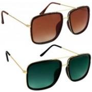 Phenomenal Retro Square Sunglasses(Brown, Green)